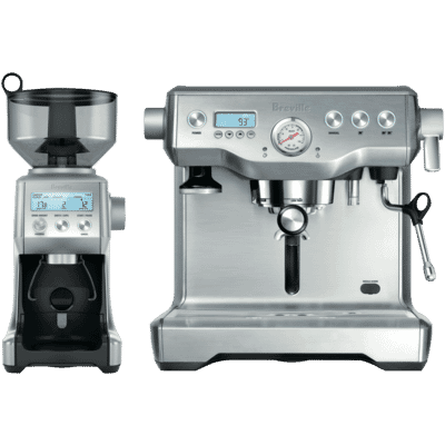 Breville - The Dynamic Duo: Dual Boiler Coffee Machine and Smart Grinder Pro - Chrome